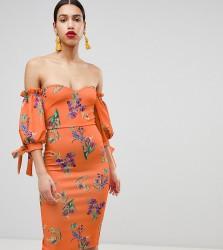 True Violet Bardot Midi Dress With Tie Sleeves - Multi