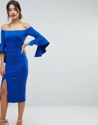 True Violet Bardot Pencil Dress With Extreme Sleeve Detail - Blue