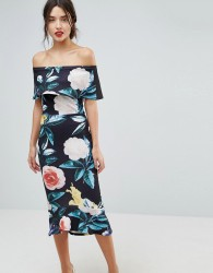 True Violet Bardot Pephem Midi Dress In Bold Floral Print - Black