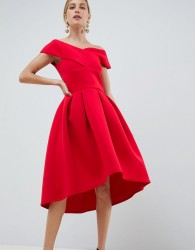 True Violet cross front bardot skater prom dress in red - Red