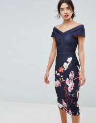 True Violet Cross Over Bodycon Dress In Floral Border Print - Navy
