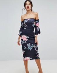 True Violet Flare Sleeve Bodycon Dress In Floral Print - Black