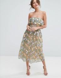 True Violet Floral Embroidered Strapless Midi Dress - Multi