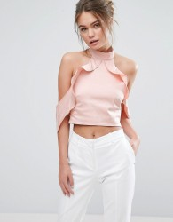 True Violet Frill High Neck Crop Top - Pink