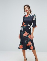 True Violet Frill Sleeve Floral Print Dress With Pephem - Navy