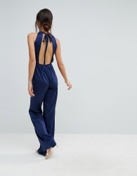 True Violet Halterneck Jumpsuit With Cut Out Back - Navy