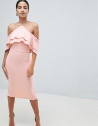 True Violet Halterneck Midi With Frill Front - Pink