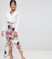 True Violet hi-low frill skirt in print - Multi