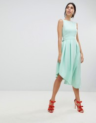 True Violet High Low Volume Dress With Bow - Green