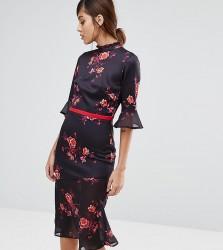 True Violet High Neck Midi Tea Dress with Asymmetric Frill Hem - Multi