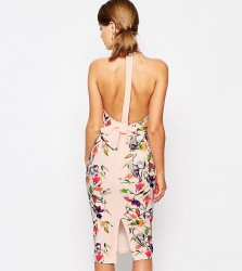 True Violet High Neck Pencil Dress With Bow Back - Pink