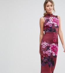 True Violet High Neck Pencil Dress with Mandarin Collar and Cap Sleeve - Multi