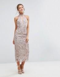 True Violet Keyhole Lace Midi Dress - Pink
