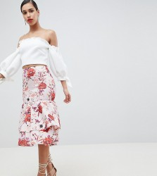 True Violet Layered Frill Midi Skirt - Multi