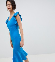 True Violet Midi Pencil Dress With Ruffle Detail And Open Back - Blue