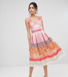 True Violet Midi Prom Dress in Print Mash Up - Multi