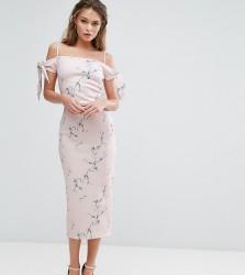 True Violet Off Shoulder Midi Dress in Floral Print - Multi