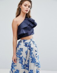 True Violet One Shoulder Crop Top With Frill Overlay - Cream