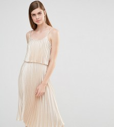 True Violet Pleated 2 in 1 Midi Dress - Gold