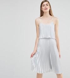 True Violet Pleated 2 in 1 Midi Dress - Silver