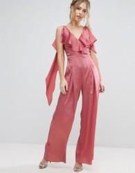 True Violet Ruffle Satin Jumpsuit - Pink