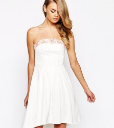 True Violet Sateen Bandeau Debutant Prom High Low Dress With 3D Embellished Trim - Cream