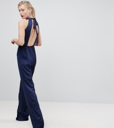 True Violet Tall Halterneck Jumpsuit With Cut Out Back - Navy