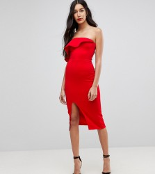 True Violet Tall Structured Bandeau Dress With Frill Detail And Side Split - Red