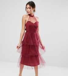 True Violet Tiered Longer Length Midi Dress in Tulle - Red