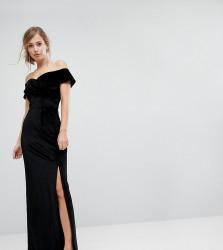 True Violet Velvet Cross Front Bardot Maxi Dress With Split - Black