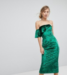 True Violet Velvet Midi Dress With Frill Detail - Green