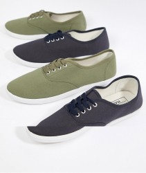 Truffle Collection 2 Pack Lace Up Plimsolls - Multi