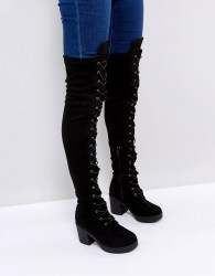 Truffle Collection Chunky Heel Over Knee Boots - Black