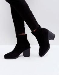 Truffle Collection Chunky Heel Sock Boot - Black