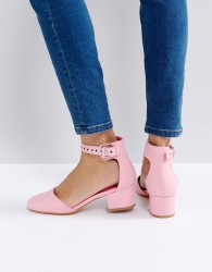 Truffle Collection Eyelet Strap Mid Heel Shoe - Pink