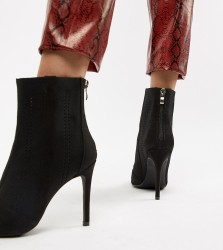 Truffle Collection Knitted Stilletto Ankle Boots - Black