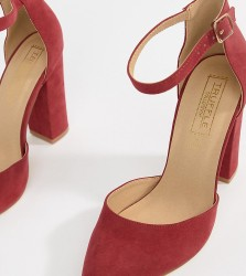 Truffle Collection Pointed Block Heels - Red