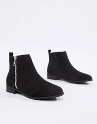 Truffle Collection Side Zip Ankle Boots - Black