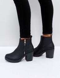 Truffle Collection Side Zip Chunky Heel Boot - Black