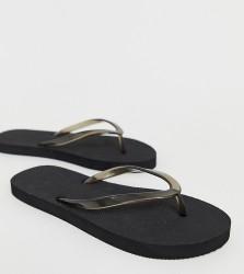 Truffle Collection Wide Fit Flip Flops - Black