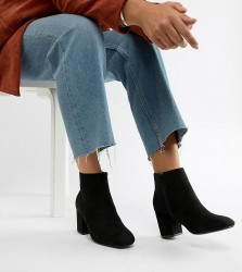 Truffle Collection Wide Fit Mid Heel Ankle Boots - Black