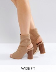 Truffle Collection Wide Fit Peep Toe Heeled Shoe Boots - Beige