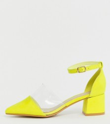 Truffle Collection Wide Fit Transparent Pointed Heels in neon - Brown