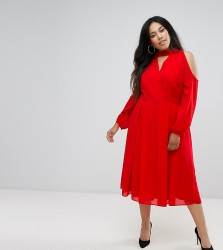 Truly You Long Sleeve Midi Dress With Cold Shoulder And Choker Detail - Red