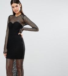 TTYA Black Atlanta Long Sleeve Mesh Detail Slim Midi Dress - Black