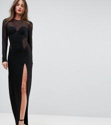 TTYA BLACK Corset Mesh Insert Maxi Bodycon Dress - Black