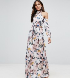 TTYA Black High Neck Cold Shoulder Maxi Dress With Pleated Waist Detail In Large Scale Floral Print - Pink