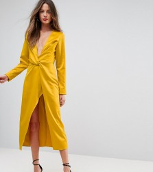 TTYA BLACK Midi Wrap Dress With Knot Front - Yellow