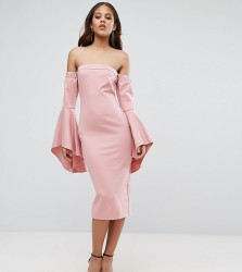 TTYA Black Off Shoulder Midi Dress With Exagerated Fluted Sleeve Detail - Pink