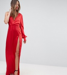 TTYA BLACK One Shoulder Maxi Dress With High Thigh Split - Red